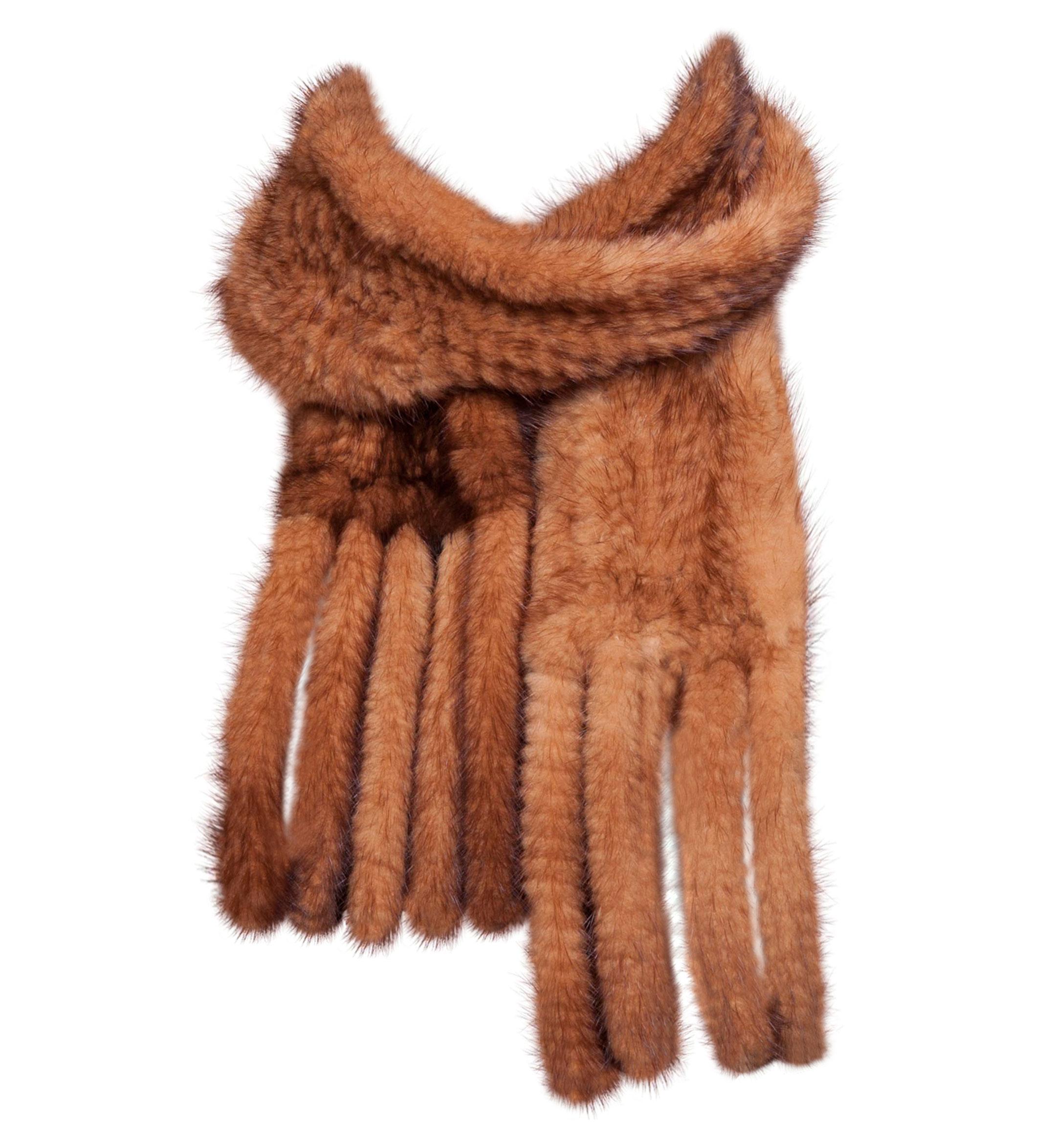 strikket mink halstørklæde