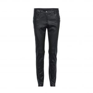 Læder-jeans sort