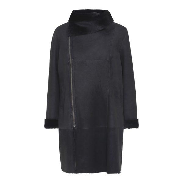 Sort rulamsjakke med lynlås