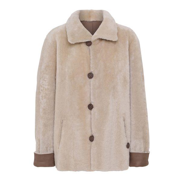 Vendbar indvendig rulamsjakke casual brun.