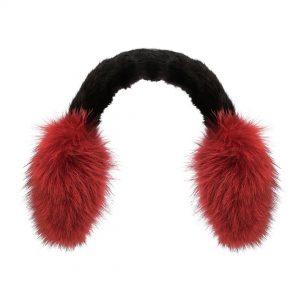 Pelsørevarmer lavet af rød coyote kombineret med sort mink.