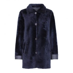 Blå vendbar indvendig rulamsfrakke