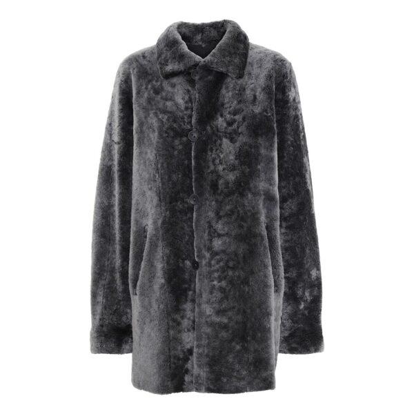 grå vendbar indvendig rulamsfrakke