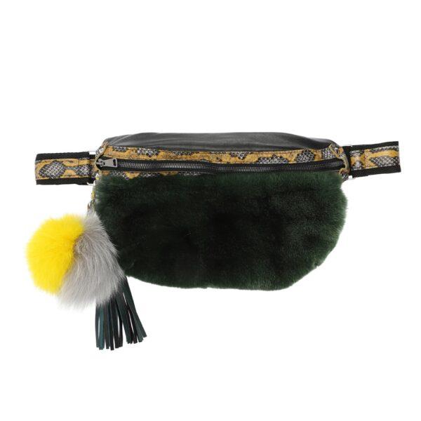 grøn bælte-taske skind læder