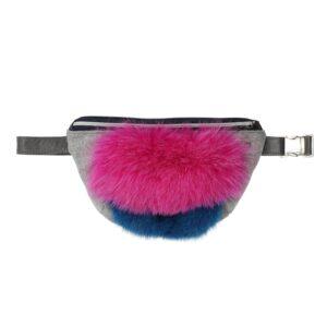 Pink bælte-taske pels læder