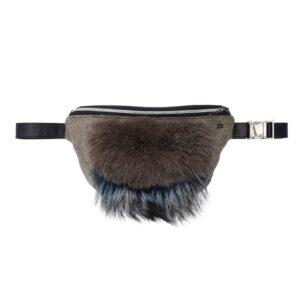Brun bælte-taske pels læder