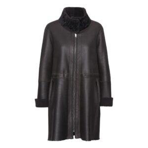 Rulamfrakke-sort-høj-krave